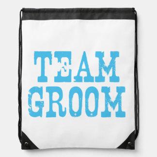 Team Groom Western Blue Drawstring Backpack