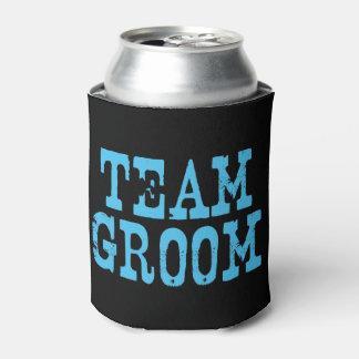 Team Groom Western Blue on Black Can Cooler