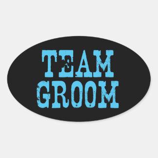 Team Groom Western Blue on Black Oval Sticker