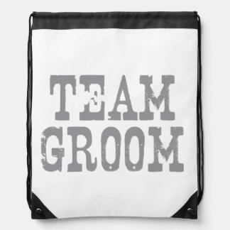 Team Groom Western Grey Drawstring Bag