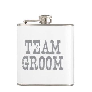 Team Groom Western Grey Hip Flask