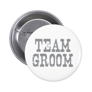 Team Groom Western Grey Pinback Button