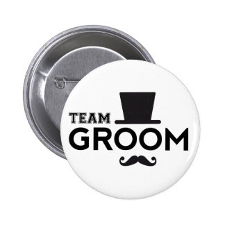 Team Groom with hat and mustache 2 Inch Round Button
