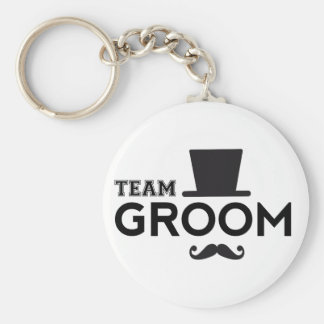 Team Groom with hat and mustache Basic Round Button Keychain