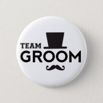 Team Groom with hat and mustache Button