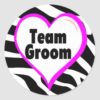 Team Groom Zebra Stripes Classic Round Sticker