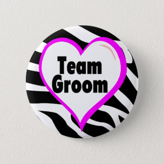 Team Groom Zebra Stripes Pinback Button