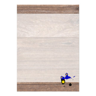 Team Guadeloupe Flag Map on Wood Card