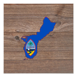 Team Guam Flag Map on Wood Poster