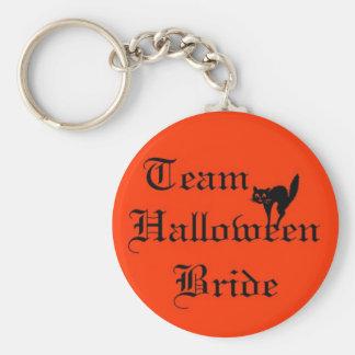 Team Halloween Bride with black cat Keychain