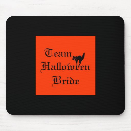 Team Halloween Bride with black cat Mouse Pad