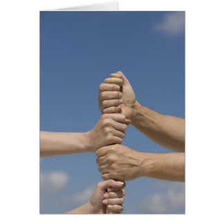Team Hands on Bat Greeting Card