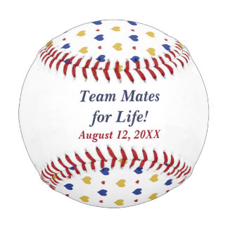 Team Hearts Personalized Newlywed Baseball