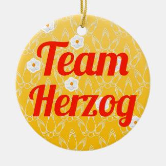 Team Herzog Double-Sided Ceramic Round Christmas Ornament
