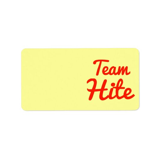 Team Hite Personalized Address Labels