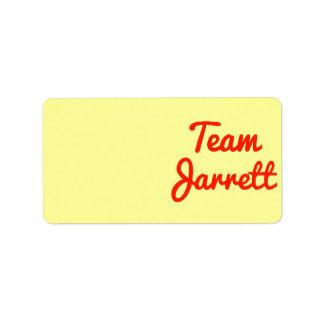 Team Jarrett Address Label