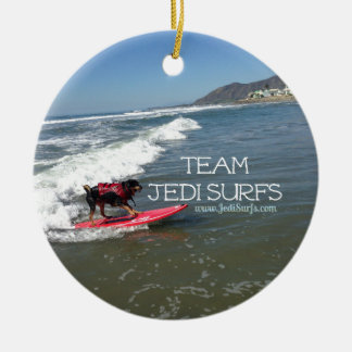 Team Jedi Surfs Line Ceramic Ornament