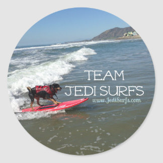 Team Jedi Surfs Line Classic Round Sticker