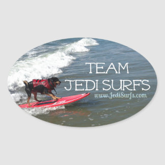 Team Jedi Surfs Line Oval Sticker