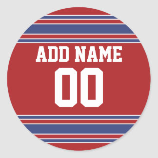 Team Jersey with Custom Name and Number Classic Round Sticker
