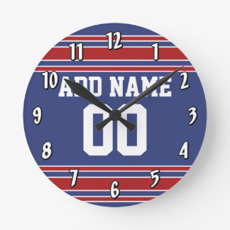 Team Jersey with Custom Name and Number Round Clock