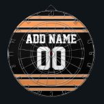 "Team Jersey with Custom Name and Number Dart Board<br><div class=""desc"">Black and Orange colors -- If you are a Fantasy Football team owner,  make your own products and show off to your friends! Or - Do you play High School Football and want a memento? This jersey design is perfect for anyone playing sports.</div>"