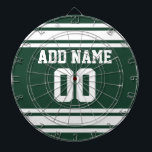 """Team Jersey with Custom Name and Number Dart Board<br><div class=""""desc"""">Green and White colors -- If you are a Fantasy Football team owner,  make your own products and show off to your friends! Or - Do you play High School Football and want a memento? This jersey design is perfect for anyone playing sports.</div>"""