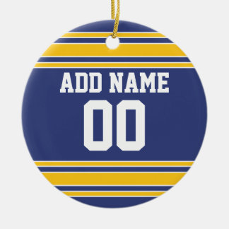 Team Jersey with Custom Name and Number Double-Sided Ceramic Round Christmas Ornament