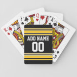 "Team Jersey with Custom Name and Number Playing Cards<br><div class=""desc"">Black and Yellow colors -- If you are a Fantasy Football team owner,  make your own products and show off to your friends! Or - Do you play High School Football and want a memento? This jersey design is perfect for anyone playing sports.</div>"