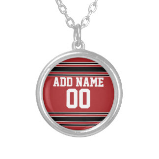 Team Jersey with Custom Name and Number Silver Plated Necklace
