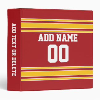Team Jersey with Name and Number 3 Ring Binder