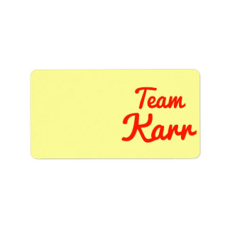 Team Karr Personalized Address Label