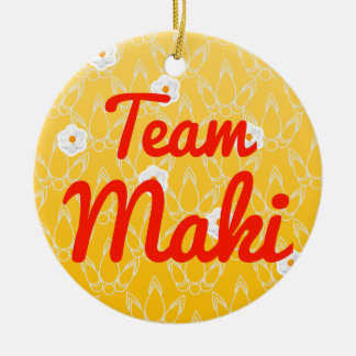 Team Maki Double-Sided Ceramic Round Christmas Ornament