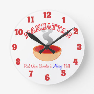 Team Manhattan Clam Chowder Round Wall Clock