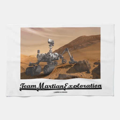 Team Martian Exploration (Curiosity Rover On Mars) Hand Towels