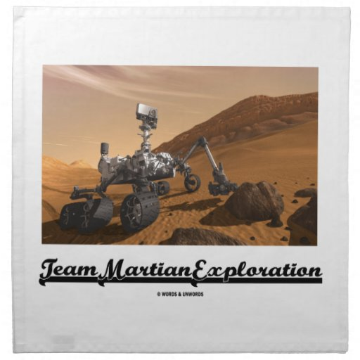 Team Martian Exploration (Curiosity Rover On Mars) Printed Napkins