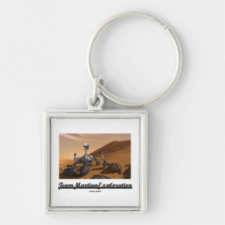 Team Martian Exploration (Curiosity Rover On Mars) Silver-Colored Square Keychain