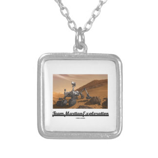 Team Martian Exploration (Curiosity Rover On Mars) Square Pendant Necklace