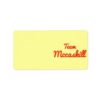 Team Mccaskill Address Label