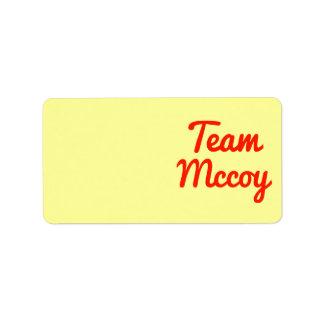 Team Mccoy Custom Address Label