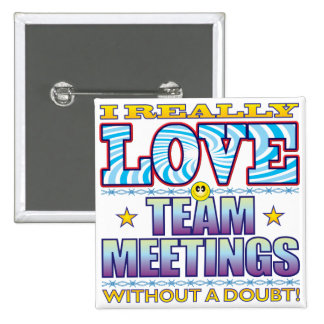 Team Meetings Love Face 2 Inch Square Button