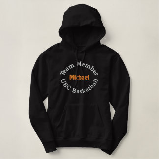 Team member basketball player embroidered embroidered hoodie