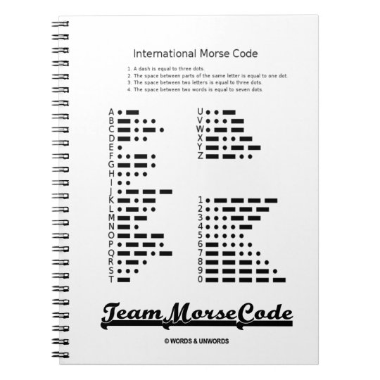 Team Morse Code Communication Dots Dashes Notebook Zazzle Com