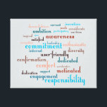 "Team Motivation Word Cloud Customizable Background Canvas Print<br><div class=""desc"">Word cloud for team building and motivation utilizing a vivid cerulean monochromatic color scheme. Text is a modified version of Fontleroy Brown which brings a clean yet trendy style to the text. The background color is a light arctic bluish gray that will match many office decors, but it can easily...</div>"