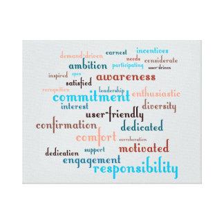 Team Motivation Word Cloud Customizable Background Canvas Print