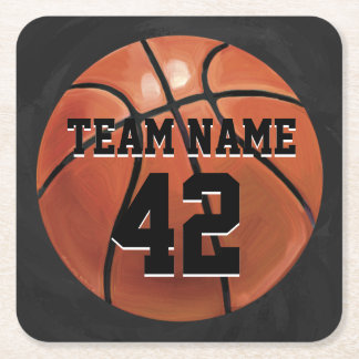 Team Name and Number Basketball Square Paper Coaster