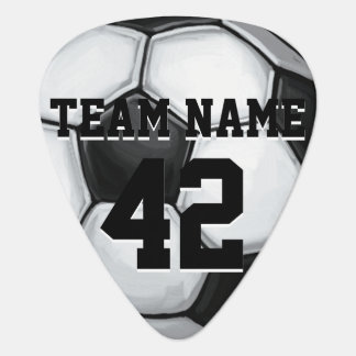 Team Name and Number Soccer Ball Guitar Pick