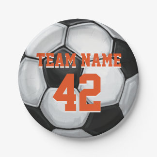 Team Name and Number Soccer Ball Paper Plate