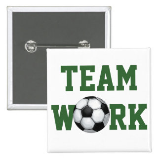 Team Name and Number Soccer Ball Pinback Button