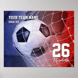 Team name red white blue girls' soccer ball goal poster